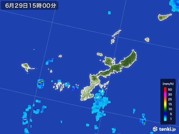 沖縄県の雨雲レーダー(2017年06月29日)