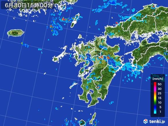 九州地方の雨雲レーダー(2017年06月30日)