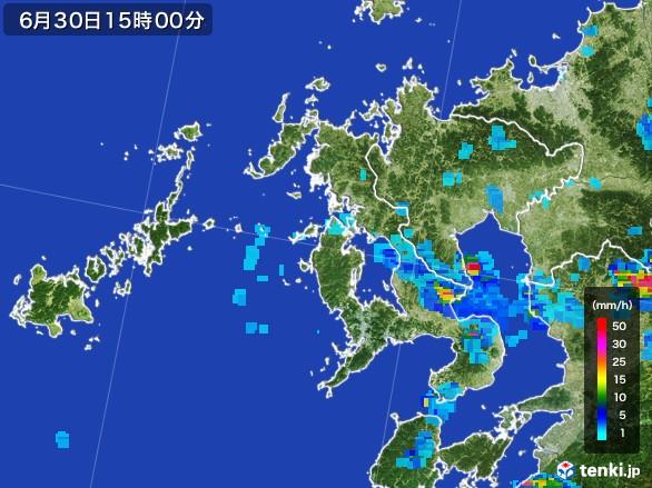 長崎県の雨雲レーダー(2017年06月30日)