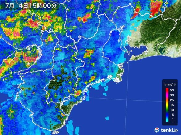 三重県の雨雲レーダー(2017年07月04日)