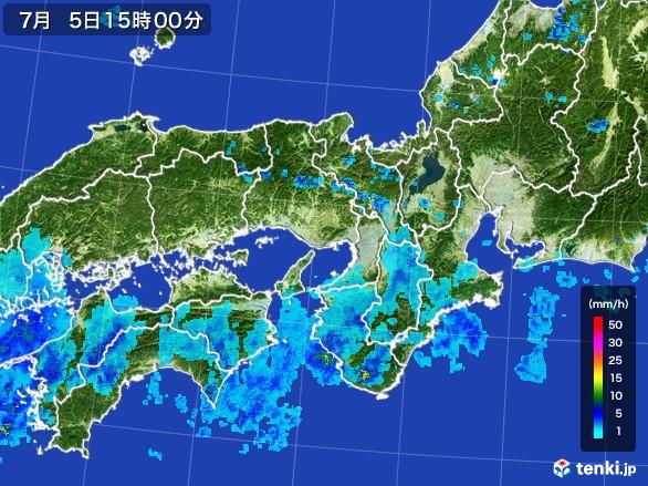 近畿地方の雨雲レーダー(2017年07月05日)