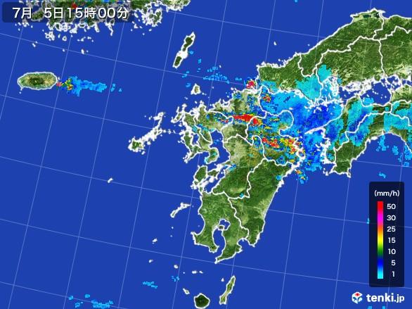 九州地方の雨雲レーダー(2017年07月05日)