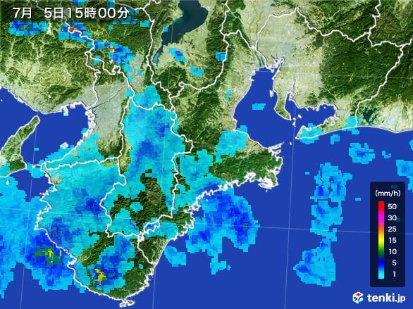 三重県の雨雲レーダー(2017年07月05日)