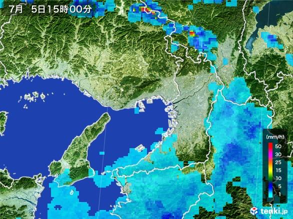 大阪府の雨雲レーダー(2017年07月05日)