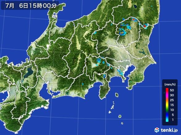 関東・甲信地方の雨雲レーダー(2017年07月06日)