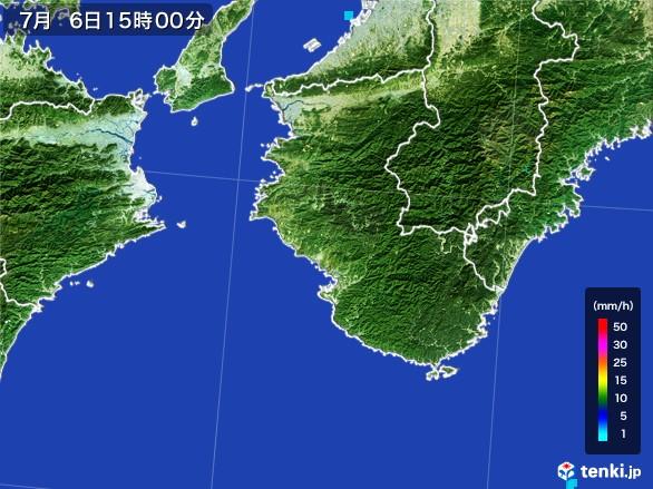 和歌山県の雨雲レーダー(2017年07月06日)