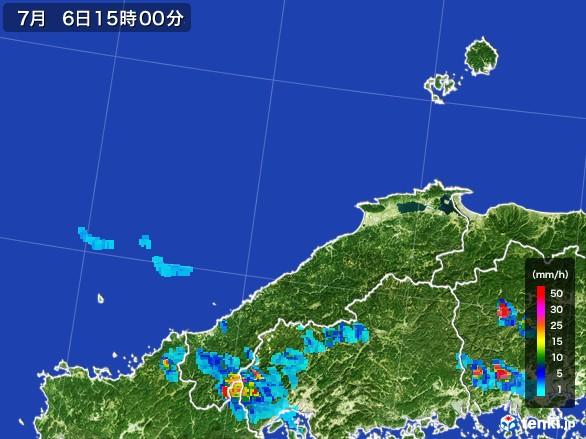 島根県の雨雲レーダー(2017年07月06日)