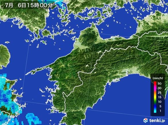 愛媛県の雨雲レーダー(2017年07月06日)