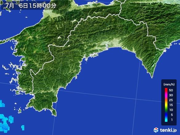高知県の雨雲レーダー(2017年07月06日)