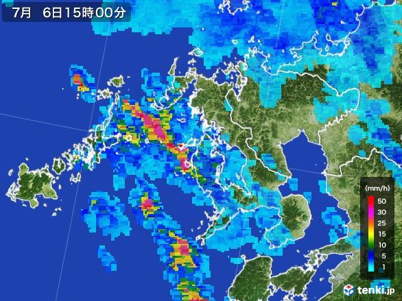 長崎県の雨雲レーダー(2017年07月06日)