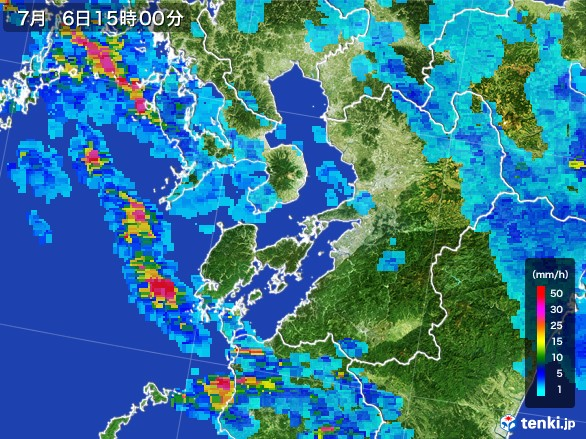 熊本県の雨雲レーダー(2017年07月06日)