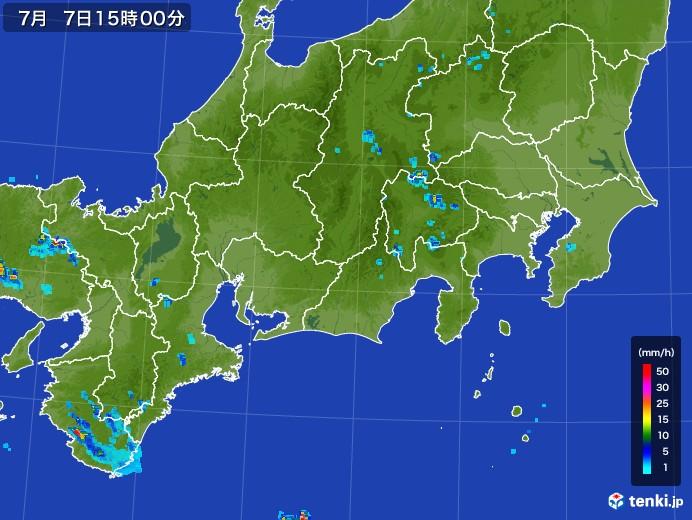 東海地方の雨雲レーダー(2017年07月07日)