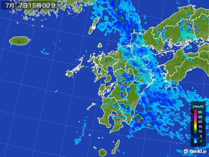 九州地方の雨雲レーダー(2017年07月07日)
