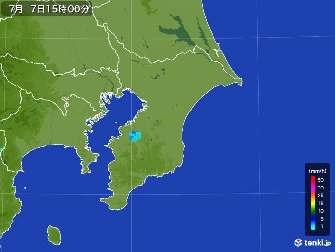 千葉県の雨雲レーダー(2017年07月07日)