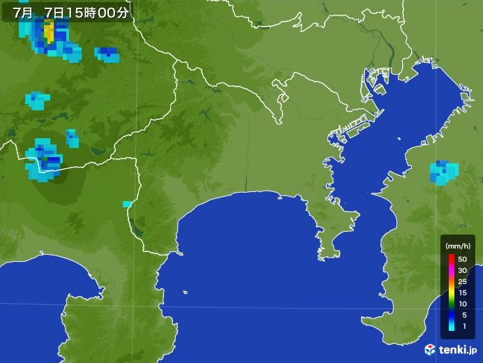 神奈川県の雨雲レーダー(2017年07月07日)