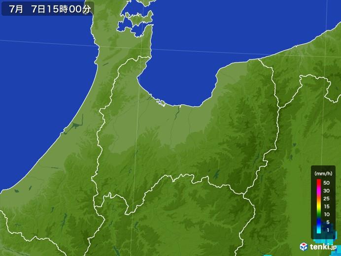 富山県の雨雲レーダー(2017年07月07日)