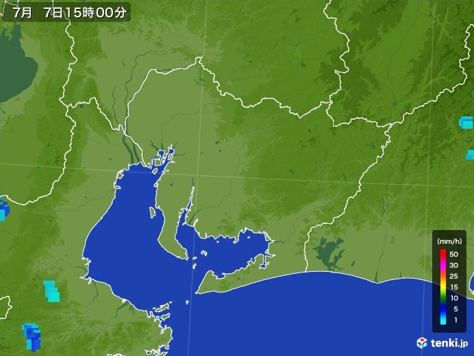 愛知県の雨雲レーダー(2017年07月07日)