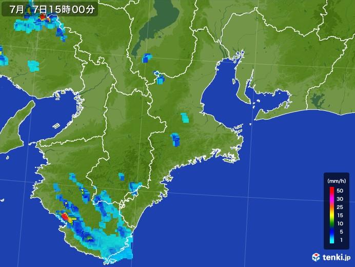 三重県の雨雲レーダー(2017年07月07日)