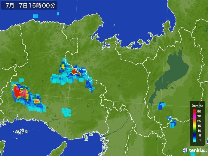 京都府の雨雲レーダー(2017年07月07日)
