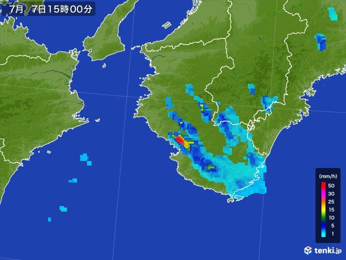 和歌山県の雨雲レーダー(2017年07月07日)