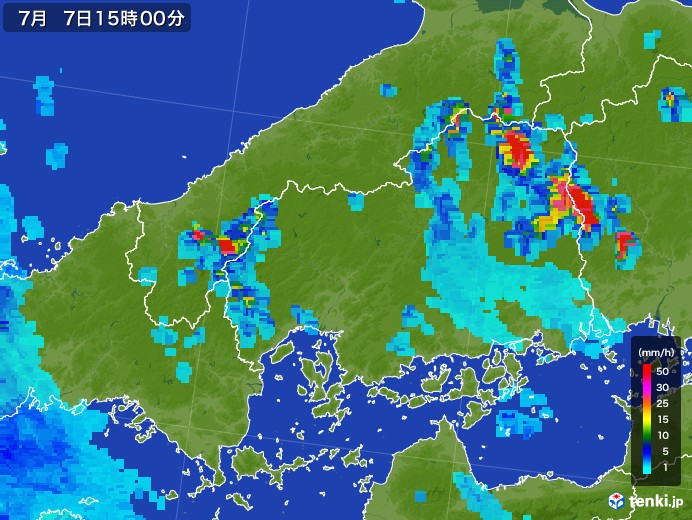 広島県の雨雲レーダー(2017年07月07日)