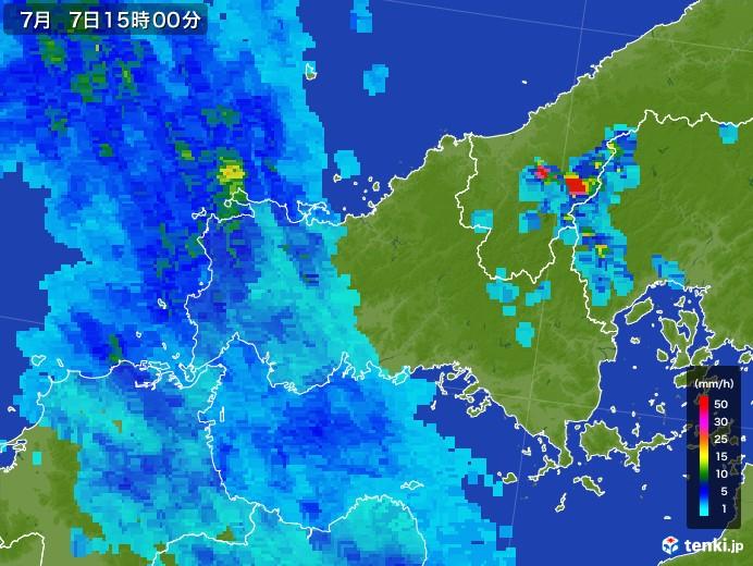 山口県の雨雲レーダー(2017年07月07日)