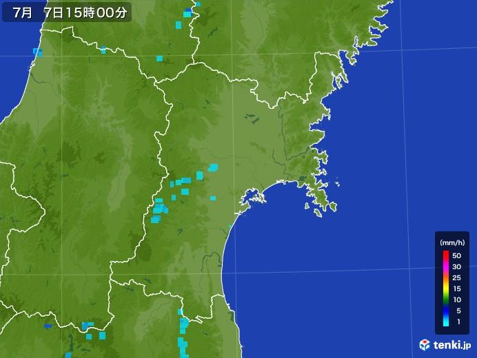 宮城県の雨雲レーダー(2017年07月07日)