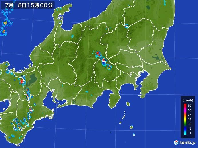関東・甲信地方の雨雲レーダー(2017年07月08日)