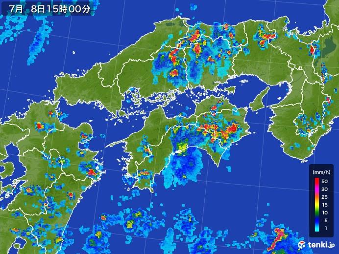 四国地方の雨雲レーダー(2017年07月08日)