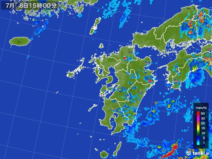 九州地方の雨雲レーダー(2017年07月08日)