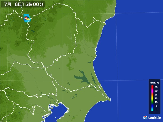 茨城県の雨雲レーダー(2017年07月08日)