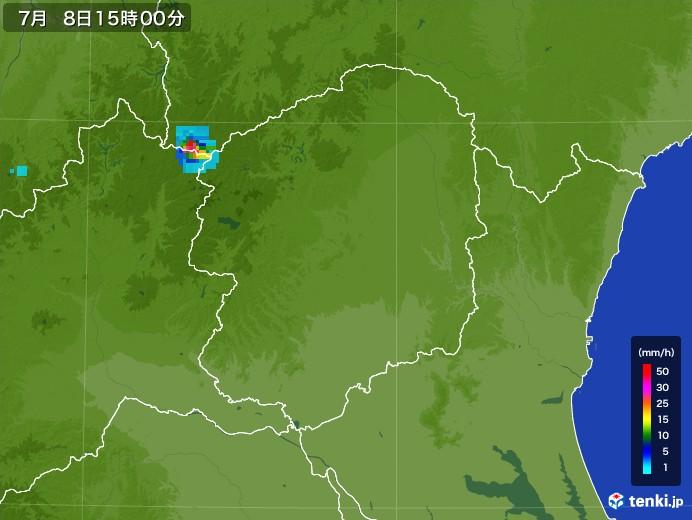 栃木県の雨雲レーダー(2017年07月08日)