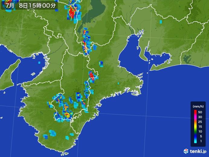 三重県の雨雲レーダー(2017年07月08日)