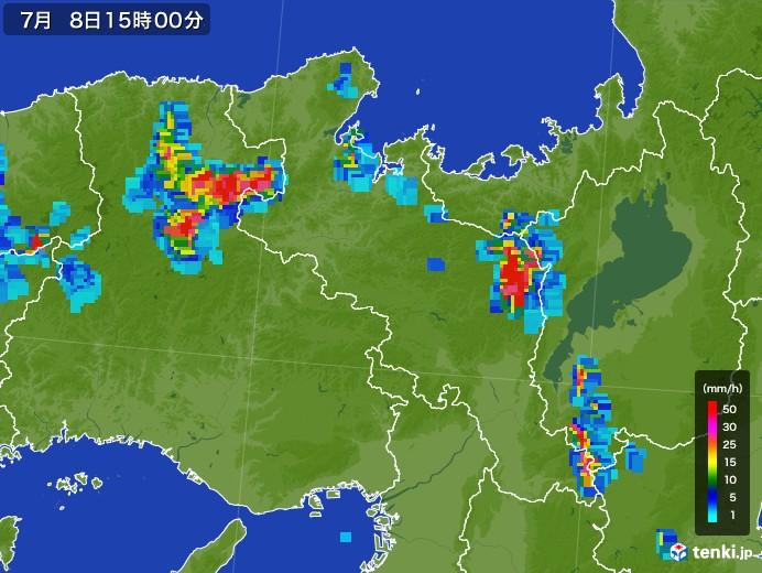 京都府の雨雲レーダー(2017年07月08日)