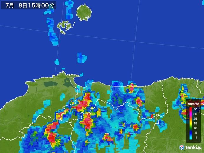 鳥取県の雨雲レーダー(2017年07月08日)