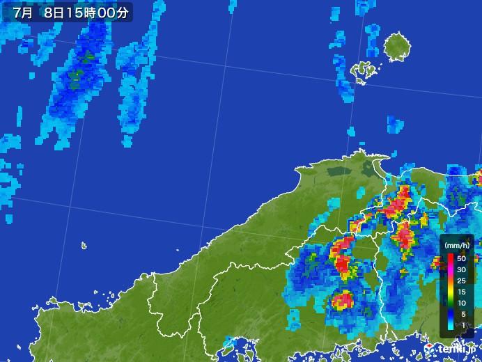 島根県の雨雲レーダー(2017年07月08日)