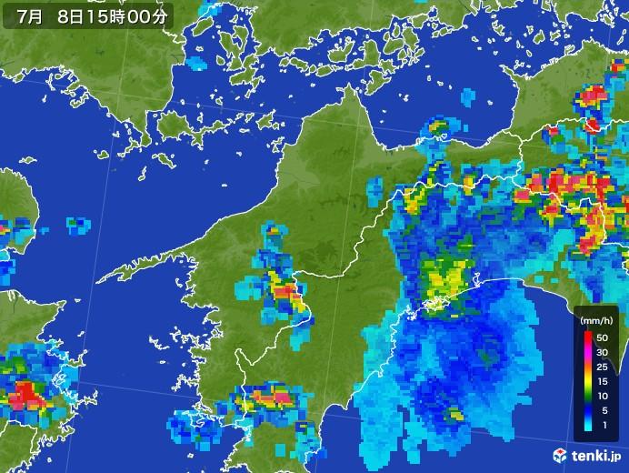 愛媛県の雨雲レーダー(2017年07月08日)