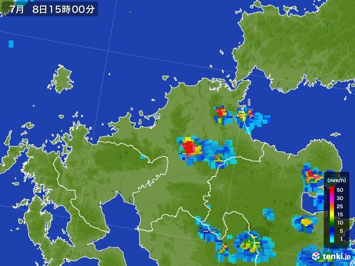 福岡県の雨雲レーダー(2017年07月08日)