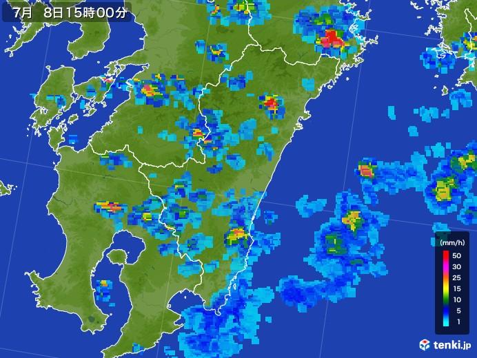 宮崎県の雨雲レーダー(2017年07月08日)