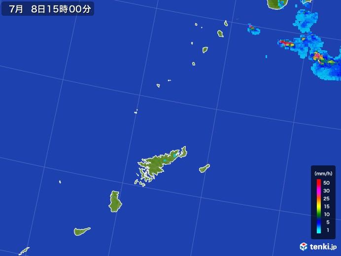 奄美諸島(鹿児島県)の雨雲レーダー(2017年07月08日)