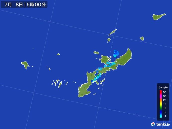 沖縄県の雨雲レーダー(2017年07月08日)