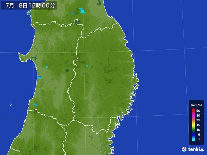 岩手県の雨雲レーダー(2017年07月08日)