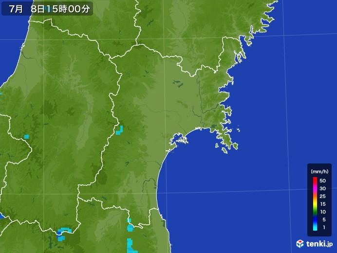 宮城県の雨雲レーダー(2017年07月08日)