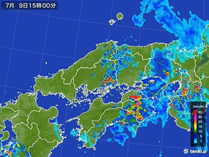 中国地方の雨雲レーダー(2017年07月09日)
