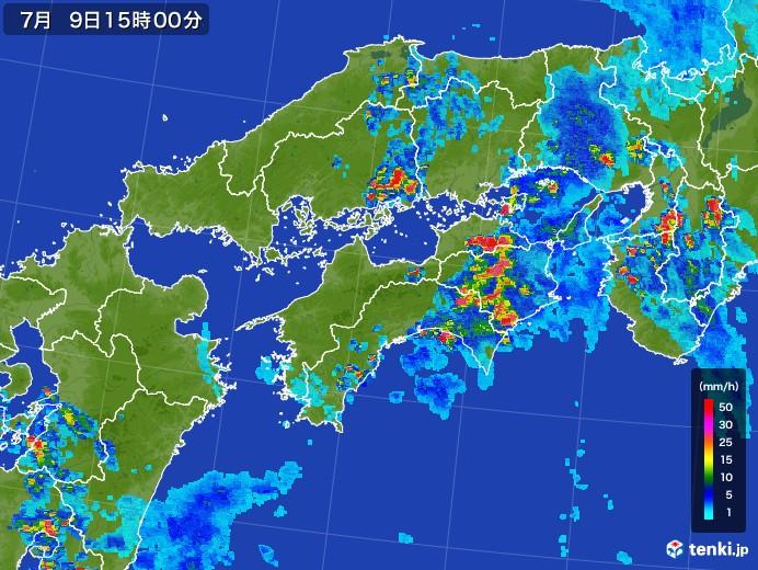 四国地方の雨雲レーダー(2017年07月09日)