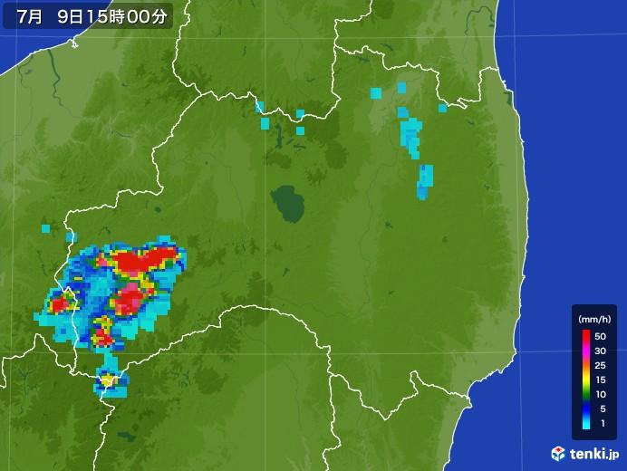 福島県の雨雲レーダー(2017年07月09日)