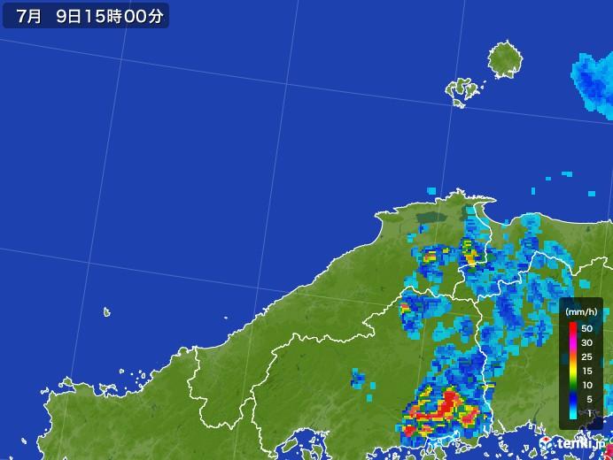 島根県の雨雲レーダー(2017年07月09日)