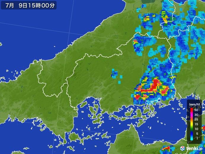 広島県の雨雲レーダー(2017年07月09日)