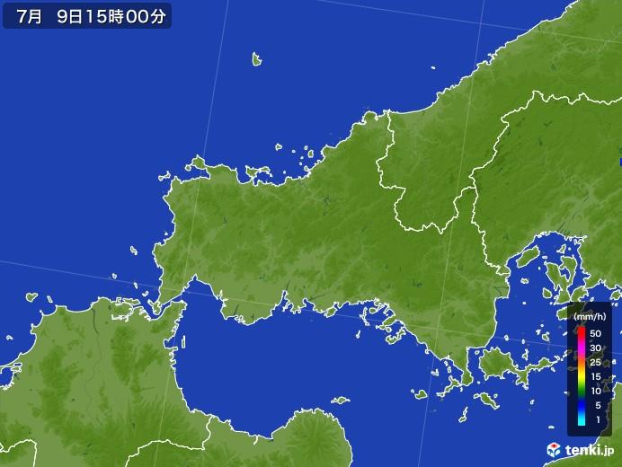 山口県の雨雲レーダー(2017年07月09日)