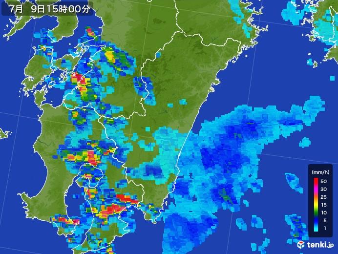 宮崎県の雨雲レーダー(2017年07月09日)